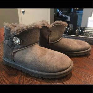 UGG Australia Sheepskin Short Gem Button Boots